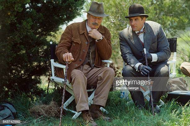 French actor and singer Yves Montand and actor Gérard Depardieu on the set of Jean de Florette, based on the novel by Marcel Pagnol and directed by...