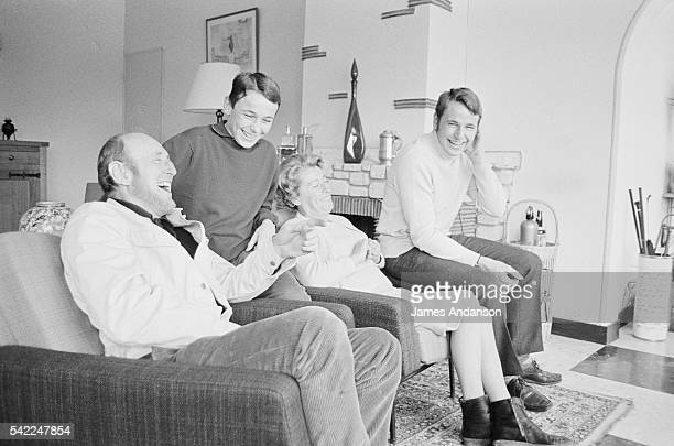 French actor André Bourvil and his family at his home in Montainville