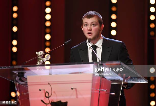 French actor Anthony Bajon speaks after receiving his silver bear award for Best Actor for the film 'The Prayer' during the award ceremony of the...