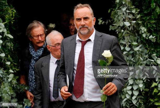 French actor Antoine Dulery leaves after a funeral ceremony for late French actor Claude Rich at the SaintPierre SaintPaul church in Orgeval...