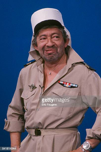 French actor author singer and songwriter Serge Gainsbourg wears the uniform of a French legionaire for his cover of the famous Edith Piaf song 'Mon...