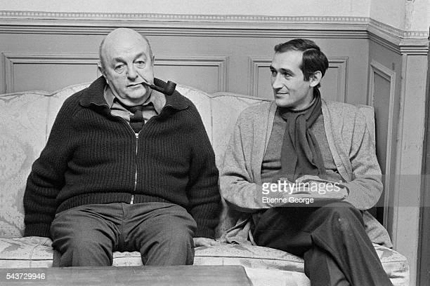French actor Bernard Blier and director Alain Corneau on the set of Corneau's film Serie Noire based on American writer Jim Thompson's novel A Hell...