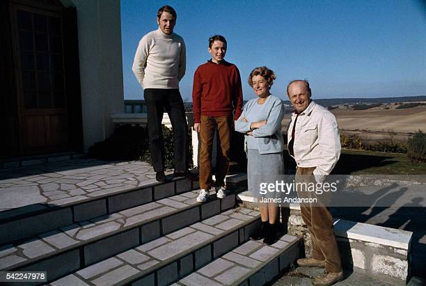 French actor Bourvil with his son Dominique age 18 his son Philippe age 15 and his wife Jeanne in Montainville Yvelines France