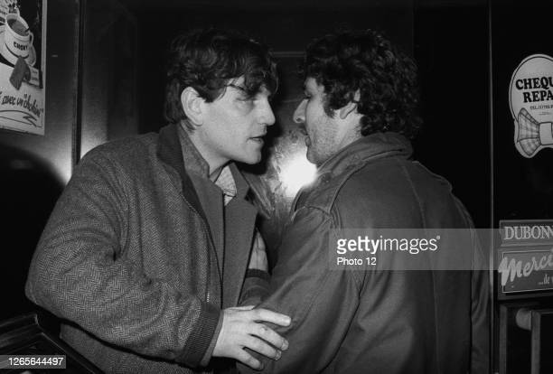 French actor Cheky Karyo and director Andre Engel meeting in a bar near Porte de la Chapelle in Paris in 1983.
