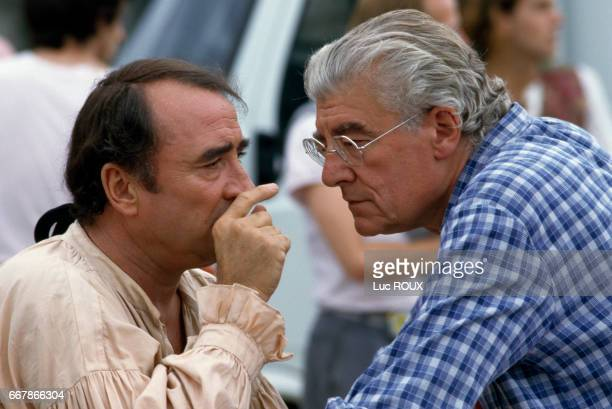 French actor Claude Brasseur and French director Roger Planchon on the set of Planchon's film Dandin