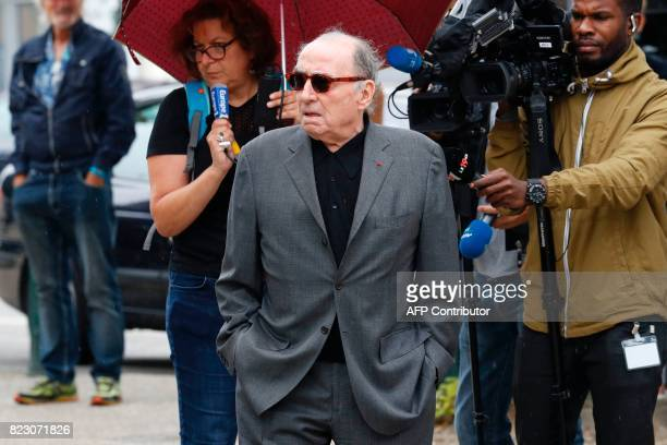 French actor Claude Brasseur leaves after the funeral ceremony for late French actor Claude Rich at the SaintPierre SaintPaul church in Orgeval...