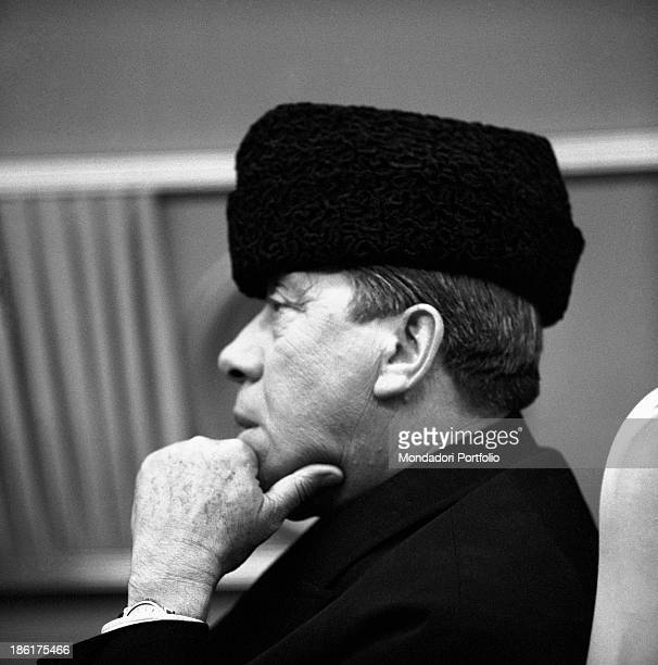 French actor comedian and singer Fernandel wearing a fur hat in the film Don Camillo in Moscow Brescello 1965