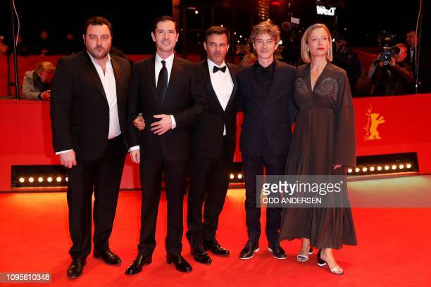 French actor Denis Menochet French actor Melvil Poupaud French director François Ozon French actor Swann Arlaud French actress Aurelia Petit pose for...