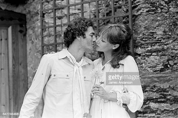 French actor director and screenwriter Daniel Duval with Danish actress Anna Karina the day of their wedding in La GardeFreinet