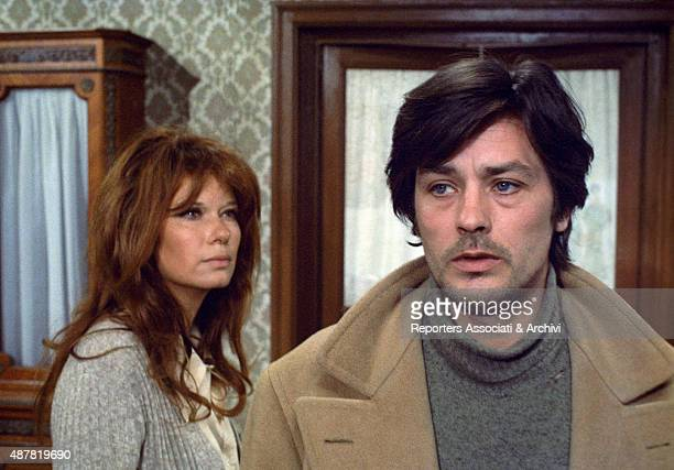 French actor, director and singer Alain Delon and Italian actress Lea Massari looking thoughtful in the film Indian Summer. Italy, 1972