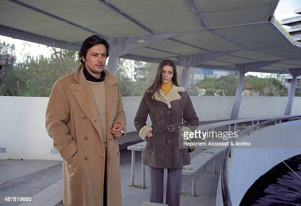 French actor director and singer Alain Delon hugging French actress Sonia Petrovna in the film Indian Summer Italy 1972