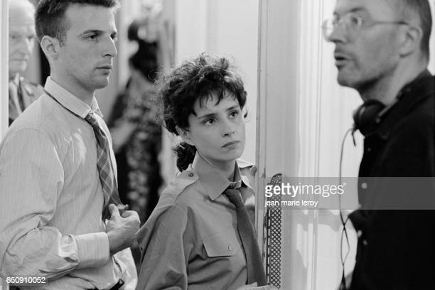 French actor director screenwriter and producer Mathieu Kassovitz and Belgian actress Anouk Grinberg on the set of Un Heros Tres Discret by French...