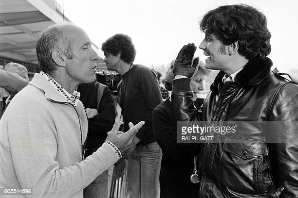 French actor Francis Huster and director José Giovanni chat on October 21 1978 in Nice on the set of the film 'Les Égouts du paradis' based on a 1976...