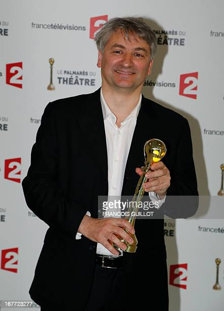 """French actor Francois Loriquet poses after receiving the best supporting actor award for his part in """"Les revenants"""" during the """"Palmares du Theatre""""..."""