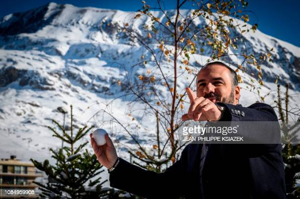 French actor FrançoisXavier Demaison poses before the screening of his film 'Ralph 20' during the 22nd International Comedy Film Festival in L'Alpe...