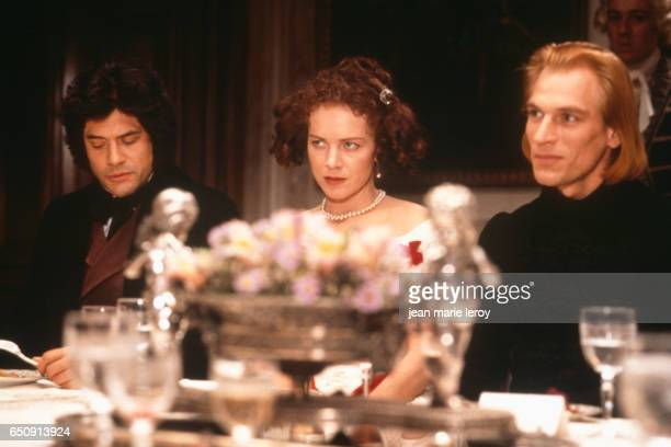 French actor Georges Corraface Australian actress Judy Davis and British actor Julian Sands on the set of 'Impromptu' by American director and...