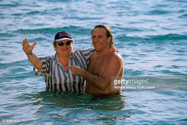 French actor Gerard Depardieu and director Josée Dayan during filming of TV film 'Le Comte de Monte Cristo'