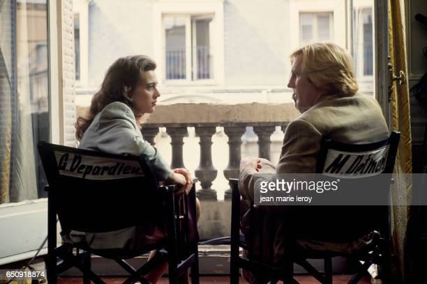 French actor Gerard Depardieu and Dutch actress Maruschka Detmers on the set of Deux by French director screenwriter and producer Claude Zidi