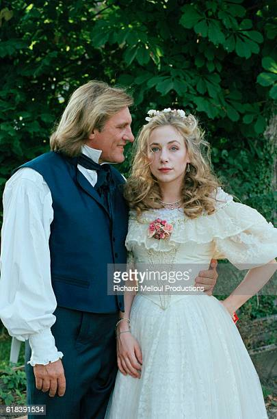 French actor Gerard Depardieu and his daughter French actress Julie Depardieu on the set of TV film Le Comte de Monte Cristo