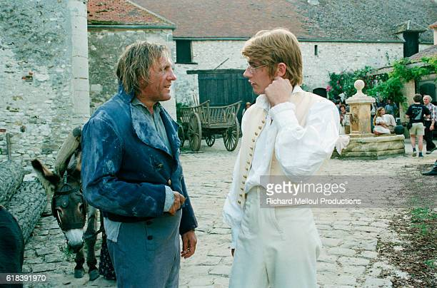 French actor Gerard Depardieu and his son Guillaume Depardieu on the set of the film Le Comte de MonteCristo by director Josee Dayan