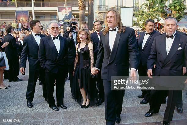 French Actor Gerard Depardieu and His Wife at Film Premiere