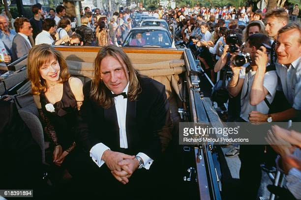 French actor Gerard Depardieu and his wife Elisabeth arrive for a movie screening at the Cannes Film Festival where he was jury president