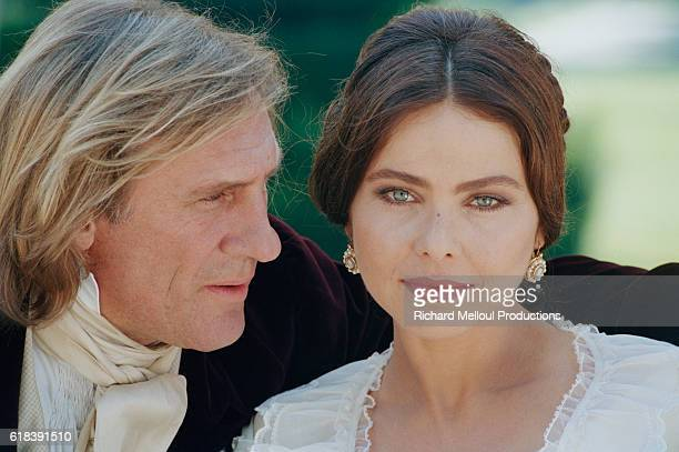 French actor Gerard Depardieu and Italian actress Ornella Muti on the set of TV film Le Comte de Monte Cristo