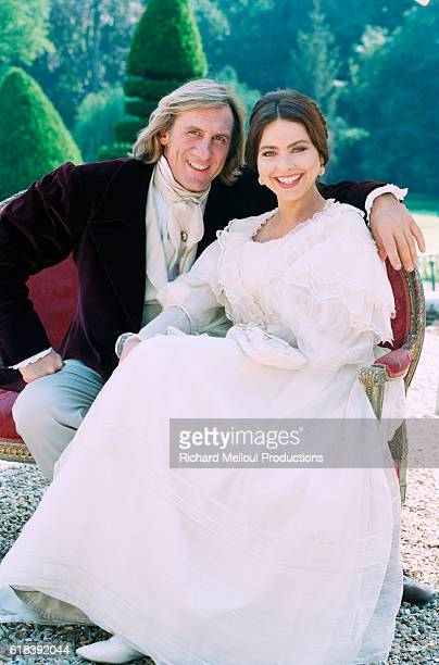 French actor Gerard Depardieu and Italian actress Ornella Muti on the set of the film Le Comte de Monte-Cristo, by director Josee Dayan.