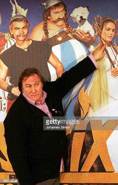 French actor Gerard Depardieu attends the 'Asterix at the Olympic Games' photo call at Hotel Bayerischer Hof on January 16 2008 in Munich Germany