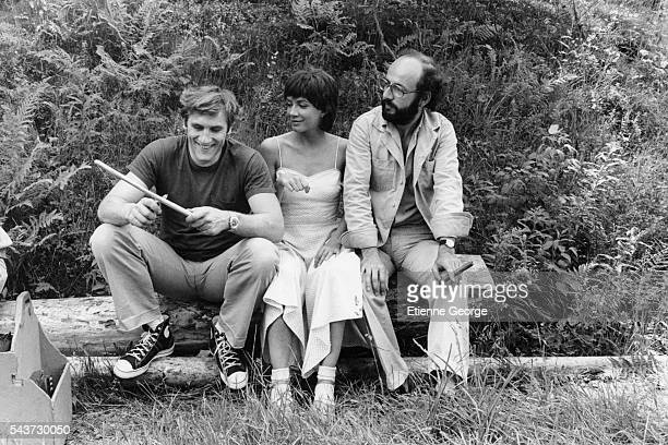 French actor Gerard Depardieu Canadian actress and singer Carole Laure with French director and screenwriter Bertrand Blier on the set of his movie...