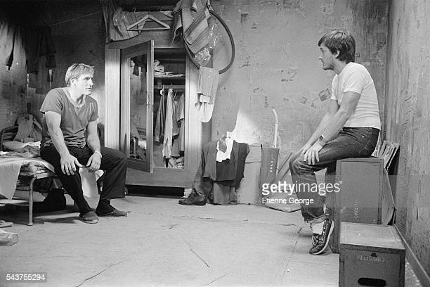French actor Gerard Depardieu directed by French director and screenwriter Jean-Jacques Beineix on the set of Beineix's film La Lune dans le Caniveau...