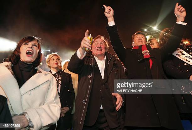 French actor Gerard Depardieu French former TV host Denise Fabre his partner Clementine Igou and Nice's mayor Christian Estrosi attend the Nice...