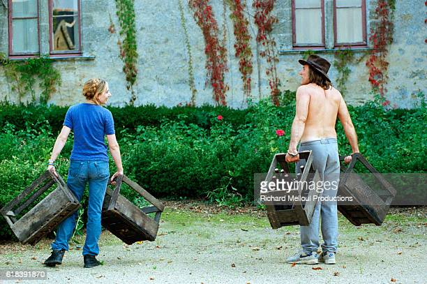 French actor Gerard Depardieu in his vineyard | Location Tigne France