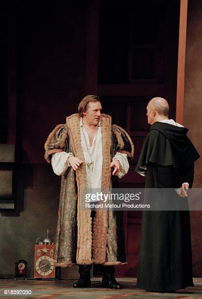 French actor Gerard Depardieu on stage during the production of Les Portes du Ciel