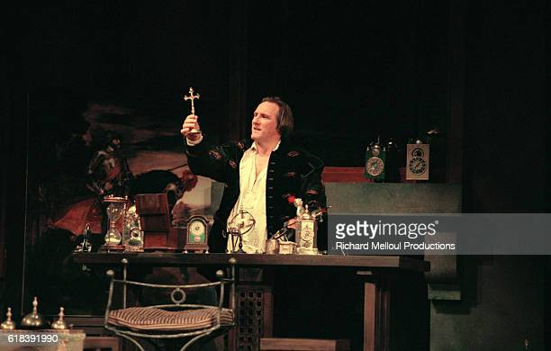 French actor Gerard Depardieu on stage in the production of Les Portes du Ciel