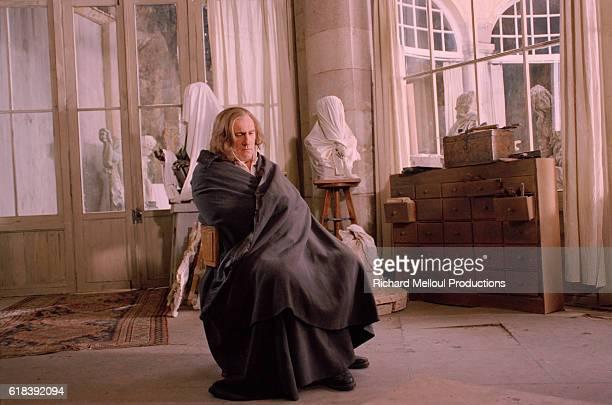 French actor Gerard Depardieu on the film set of Balzac.