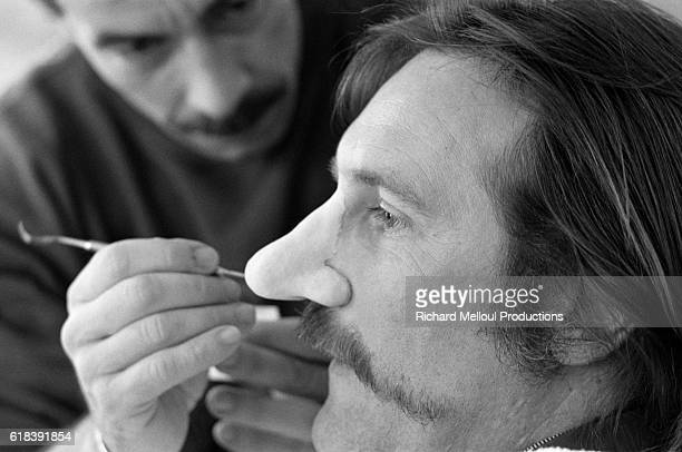 French actor Gerard Depardieu on the set of the film Cyrano de Bergerac by Jean Paul Rappeneau