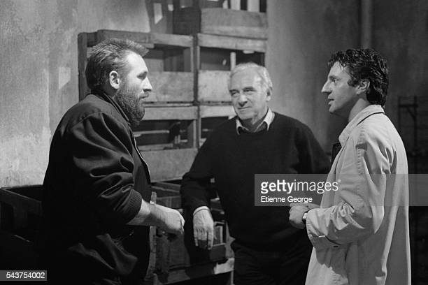 """French actor Gerard Depardieu visits French director Claude Sautet on the set of his film """"Quelques Jours avec Moi"""" , based on Jean-Francois..."""