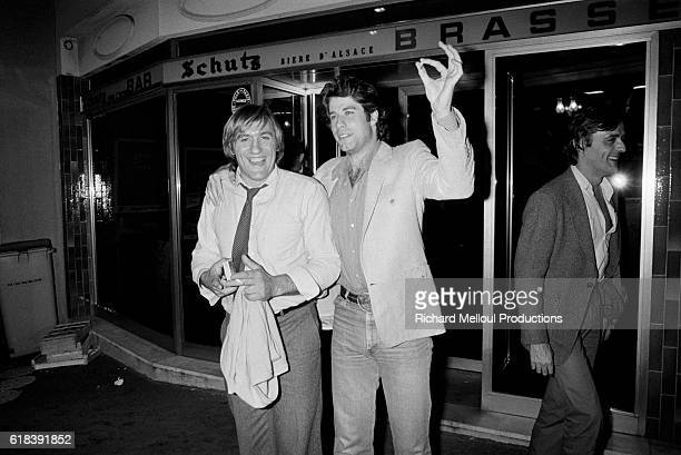 French actor Gerard Depardieu with American actor John Travolta in Paris