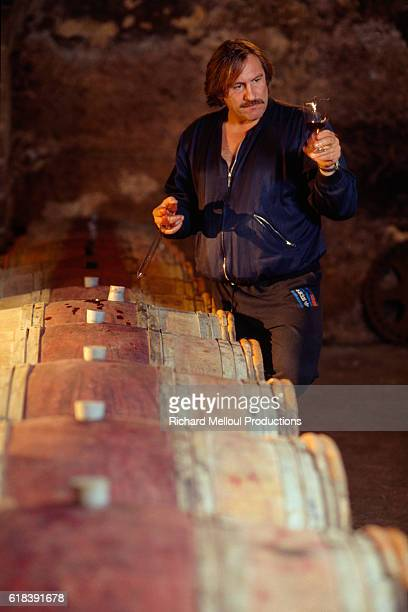 French actor Gerard Depardieu working in his vineyard. | Location: Tigne, France.