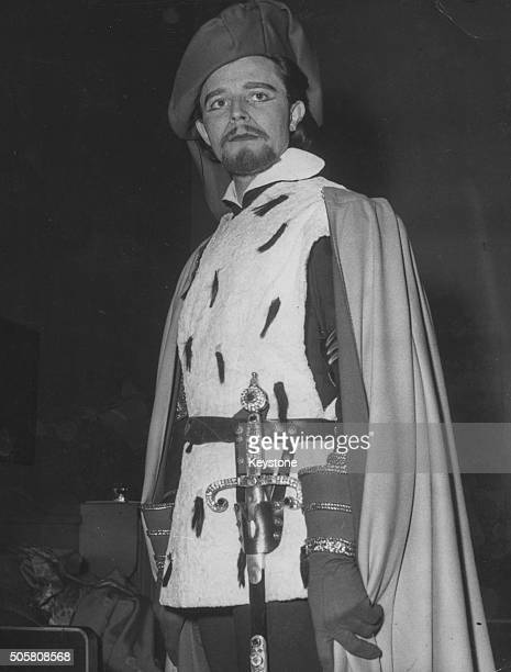 French actor Gerard Philipe in costume as Richard II in a scene from the Shakespeare play of the same name at the Theatre National Populaire of Paris...