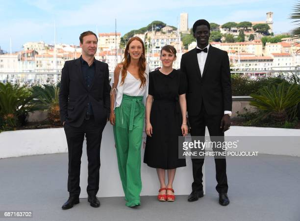 French actor Gregoire Monsaingeon French actress Lætitia Dosch French director Leonor Serraille and Senegalese actor Souleymane Seye Ndiaye pose on...