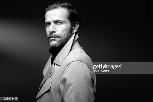 French actor Gregory Fitoussi poses for a photo session during the 3rd edition of the Cannes International Series Festival in Cannes, southern...