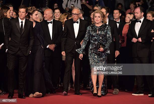 French actor Guillaume Canet French actress Adele Haenel French director Andre Techine and French actress Catherine Deneuve arrive for the screening...