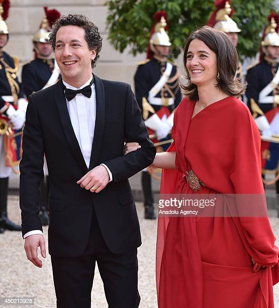 French actor Guillaume Gallienne and his wife Amandine Gallienne arrive to Elysee Palace for the state dinner in honor of the Queen Elizabeth II at...