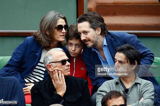 French actor Guillaume Gallienne his wife Amandine and his son attend the French Tennis Open Day Fifteen with the Final between Novak Djokovic and...