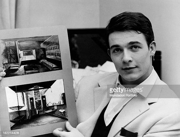 French actor Jacques Charrier showing some sketches of the movie he will act in Paris 1959