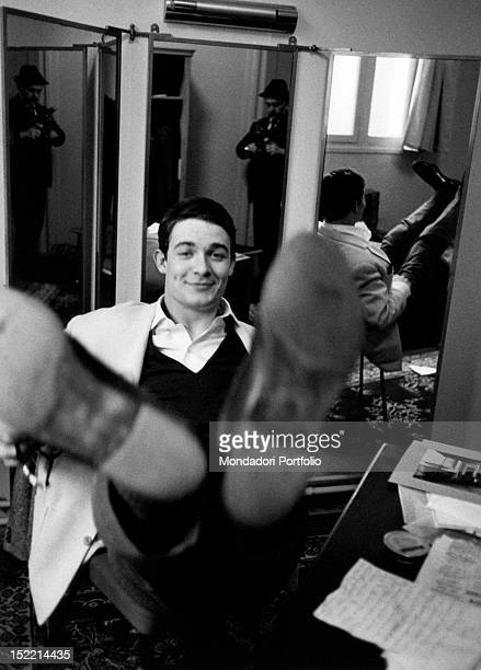 French actor Jacques Charrier sitting in his study Paris 1959