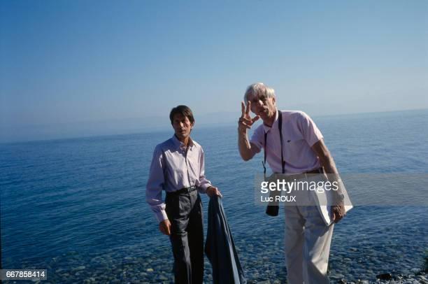 French actor Jacques Dutronc with director Michel Deville on the set of Deville's film Toutes Peines Confondues