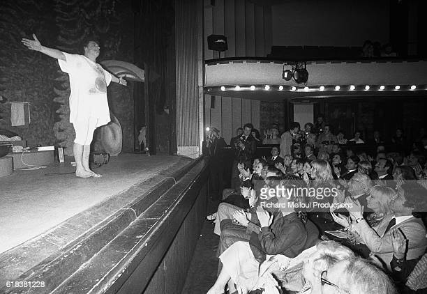 French actor Jacques Martin takes a bow on stage at the Theatre de la Michodiere after performing his play 'Une Case de Vide' Martin is a popular...